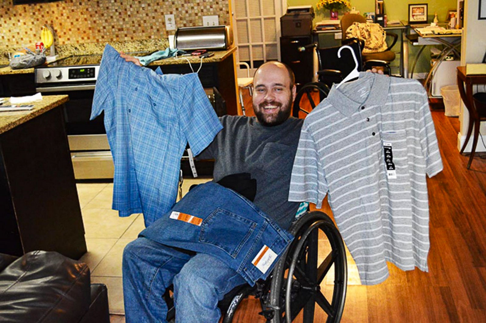 Group home resident gets new clothes.