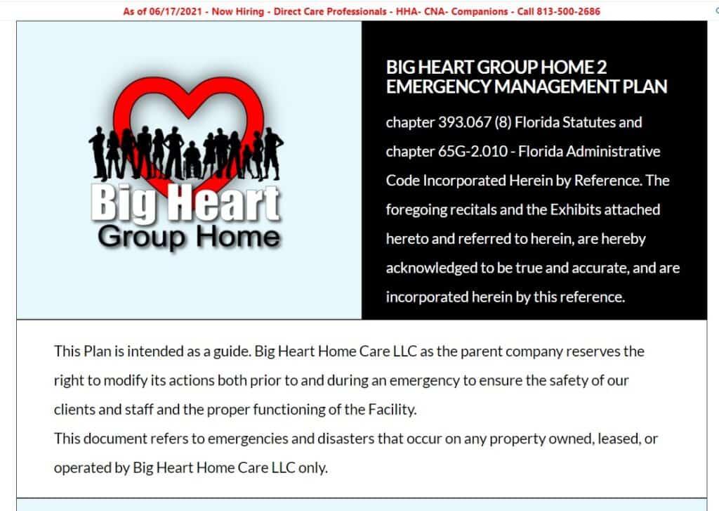 big heart group home emergency management plan